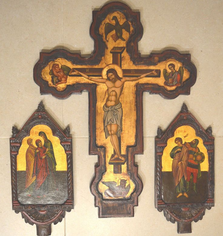 Orthodox Icon Cross Greek Byzantine Antique Style Virgin Mary Saint John