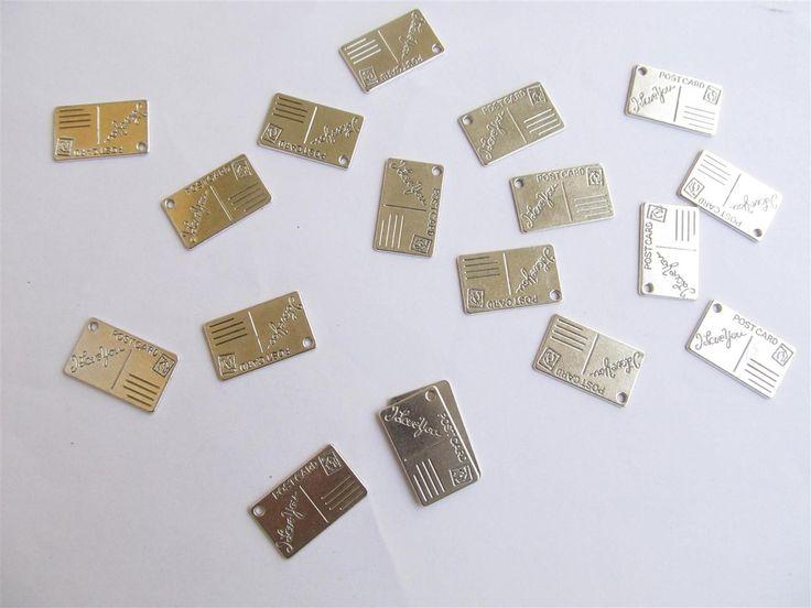 Silver tone metallic charms 25mm (10 pcs)