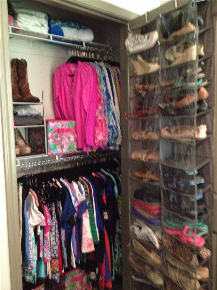 University of Kentucky Woodland Glen lll- dorm closet with added upper shelf secured with command strips