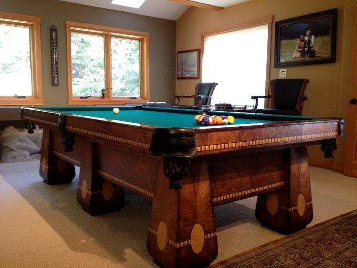 """BBC """"Medalist"""" 4 1/2 X 9' 6 leg pool table circa 1925. Handsomely figured Burl Walnut with Maple inlays. Restored by Golden West Billiards. Golden West buys, sells, and restores old pool, billiard, and snooker tables. Call for quotes. Antique appraisals available. AMERICAN built and PROUD of it!"""
