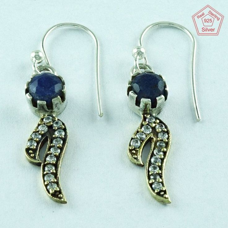 Geniune 925 Sterling Silver Sapphire & CZ Stone Fashion Earring With Brass E3619 #SilvexImagesIndiaPvtLtd #DropDangle