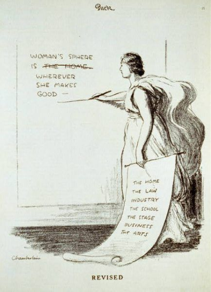 """Title Revised / Chamberlain. Summary Cartoon showing a woman revising statement on a wall; she changes """"Woman's sphere is the home"""" to """"Woman's sphere is wherever she makes good--""""; she is holding a list of places, such as """"The home"""" """"The Law"""" """"Industry"""", that can be used to complete the revised statement. Contributor Names Chamberlain, Kenneth Russell, 1891-1984, artist Created / Published [1917 April 14]"""