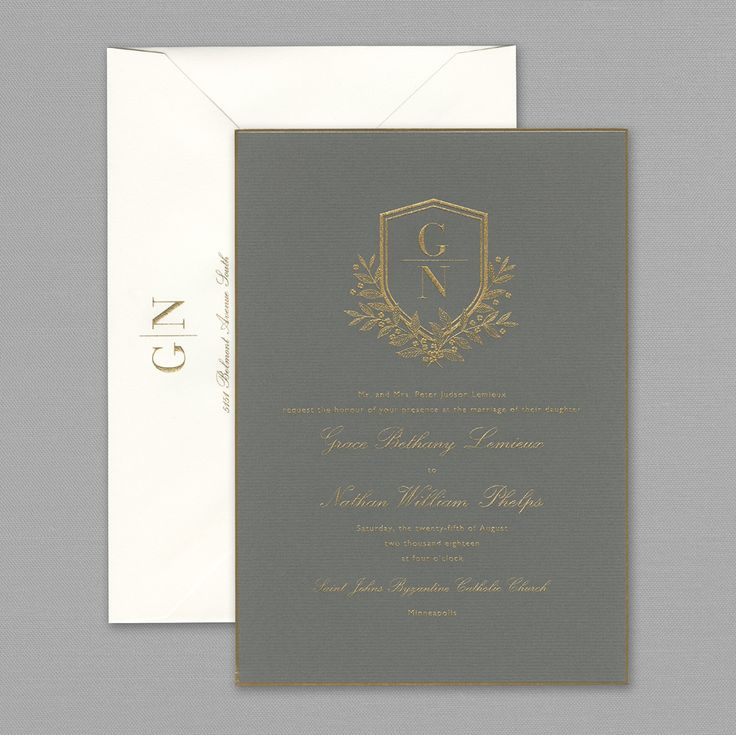 wedding invitations map%0A Vera Wang Engraved Gold Bordered Light Grey Wedding Invitation