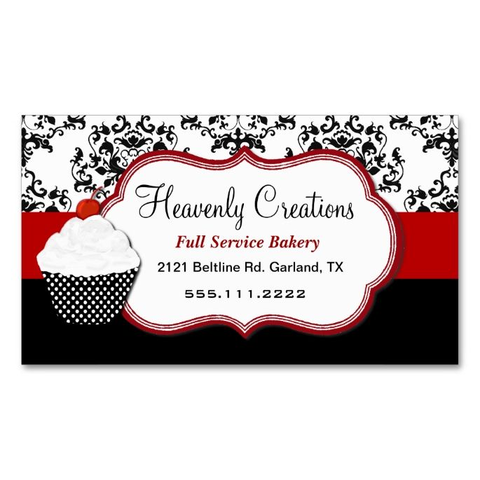 2173 best black and white business card templates images on elegant damask cupcake bakery business card make your own business card with this great design reheart Choice Image