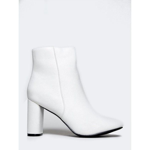 LINDA-21 BOOTIE (370 ARS) ❤ liked on Polyvore featuring shoes, boots, ankle booties, white, white ankle boots, ankle boots, white booties, zip boots and round toe booties