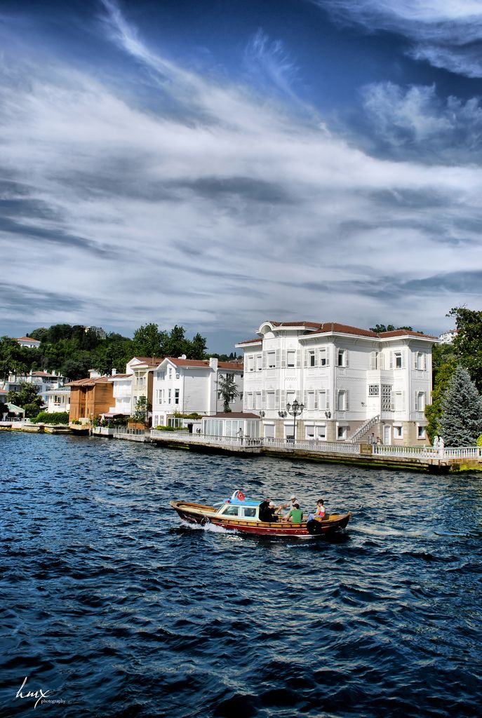 Bosphorus Yalis in Istanbul -- They are rebuilt, reconditioned wooden mansions right on the edge of the Bosphorus, much like Venetian palazzos right on the Venetian canals,  circa 18th and 19th Century Ottoman Empire.