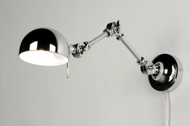 Artikel 71595 Mooie chromen wandlamp. In hoogte te verstellen met drie vleugelmoeren. De binnenkant van het kapje is wit zodat het licht optimaal gereflecteerd wordt. Aan het snoer zit een schakelaar om de lamp mee te bedienen.https://www.rietveldlicht.nl/artikel/wandlamp-71595-modern-eigentijds_klassiek-retro-chroom-metaal