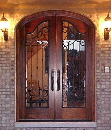 Rustic Double Front Doors: Double Front Door, Modify Wrought Iron Design To Include A