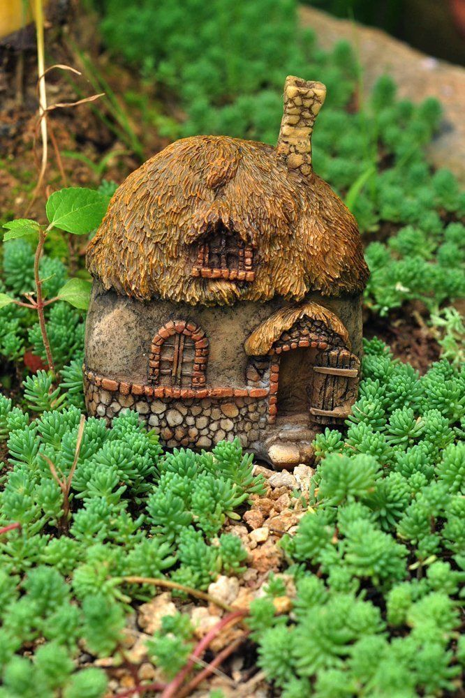 Miniature Dollhouse Fairy Garden Thatched Roof Fairy House