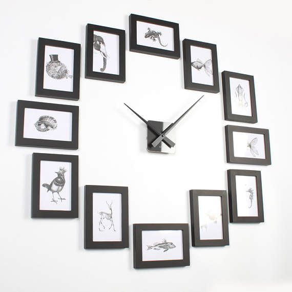 Create the perfect picture wall clock in minutes! Fast and easy! Material: Solid pine wood and acrylic front cover, not glass. Taiwan quiet movement with modern matte color clock hands on acrylic dial. Total size: 85 x 85cm (can be setup by horizontal or vertical ) Frame size: 12 pieces of 4