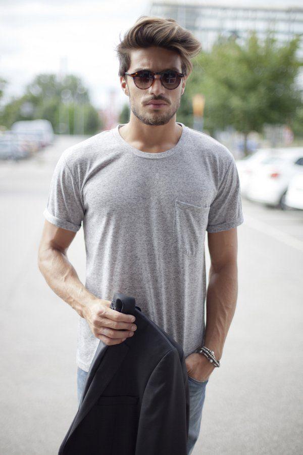 Simple Look Grey Shirt Sunglasses Hair Beard Fashion Men