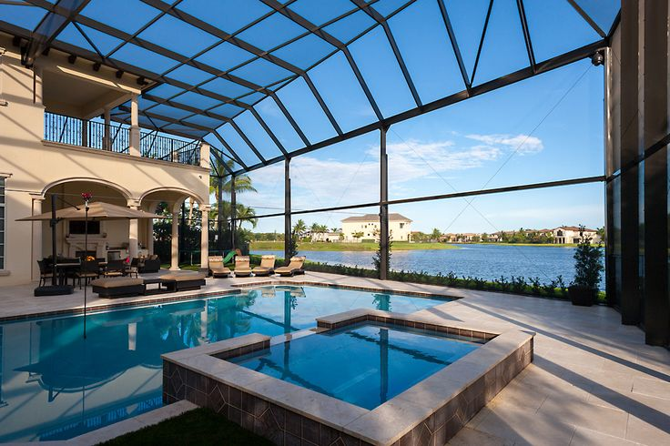 Two story picture window pool enclosure screen for Year round pool residential