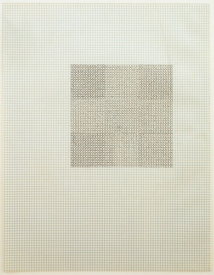 "Eva Hesse, ""Untitled,"" 1967, ink on graph paper, 11 x 8 1/2 inches (27.9 x 21.6 cm) © The Estate of Eva Hesse, Hauser & Wirth Zürich London"