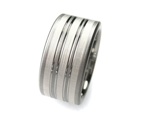 Men's Wedding Band Titanium Silver Stripes Comfort Fit by spexton