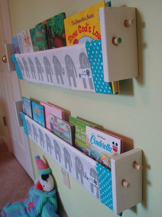 Book Storage Sling Grey Elephant Turquoise Nursery Neutral