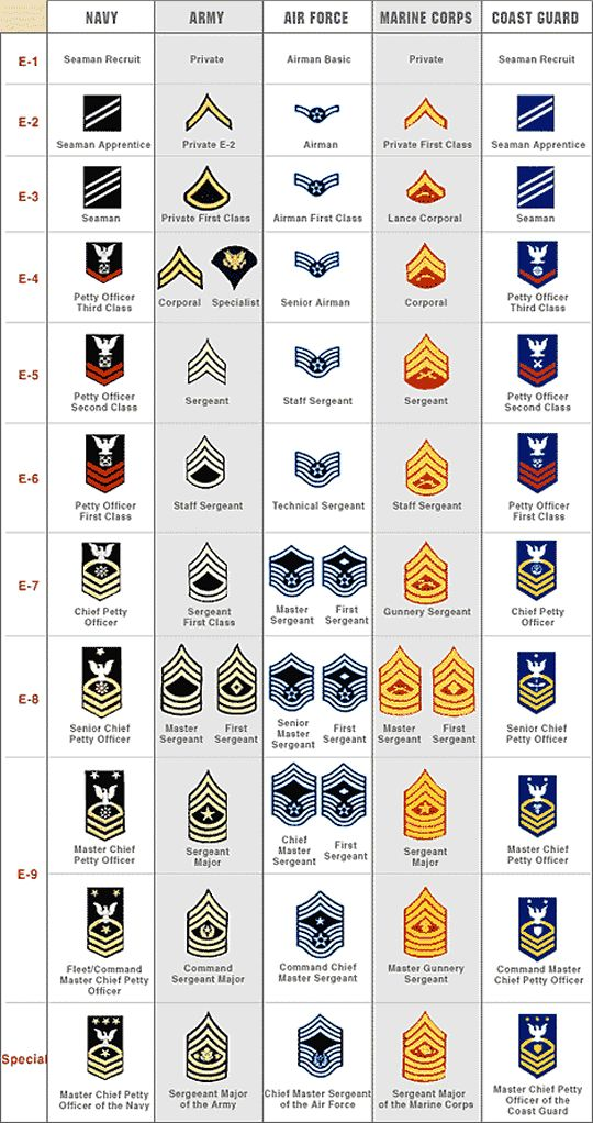 RANK STRUCTURE AND INSIGNIA OF ENLISTED MILITARY PERSONNEL - ALL BRANCHES OF US MILITARY SERVICE - web credit here - http://www.aviationexplorer.com/air_force_rank_structure.htm