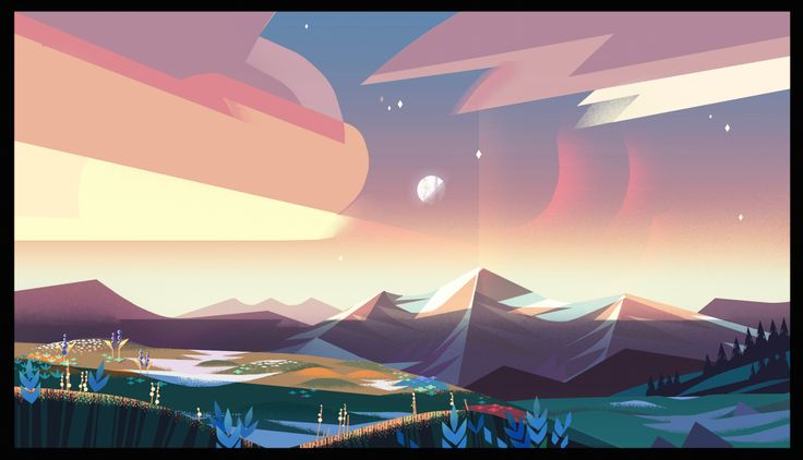 """I got to reunite with Steven Universe last year to work on the episode """"The Answer""""! Here are some of the BGs. It was awesome working with my friend and art director Jasmin Lai who helped inspire the..."""