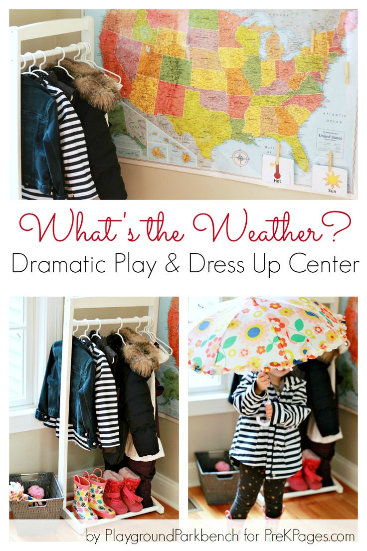 What's the Weather? Dramatic Play Dress Up Center ideas for your preschool classroom. Perfect for a weather theme!