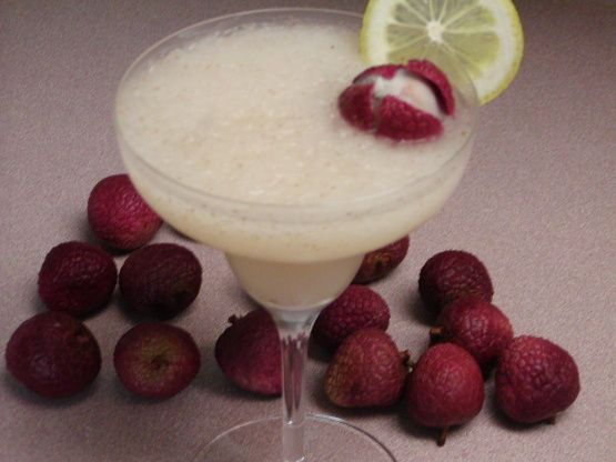 Lychee Margarita Recipe - SERVINGS 2 UNITS US 1⁄2 cup chopped lychees 2 cups ice cubes 1 cup lime juice 1⁄3 cup triple sec 1⁄3 cup tequila 2 lychee, to garnish 2 slices lemons or 2 slices limes, for garnish salt, for rim of glass