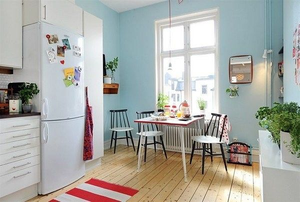 Scandinavian kitchens don't have to be white. As long as they're light and airy you can use any colour!