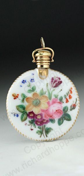 RARE ANTIQUE  VINTAGE SCENT PERFUME BOTTLES: c.1870 FRENCH FLORAL ENAMELLED PORCELAIN DISK SCENT PERFUME BOTTLE WITH GOLD TOP.