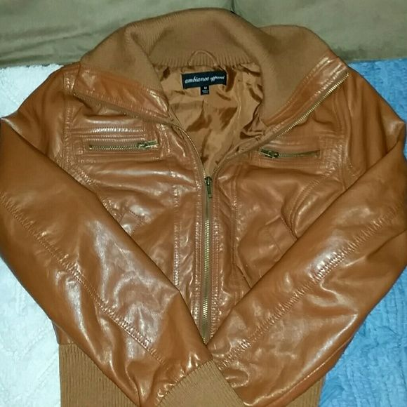 Ladies FAUX LEATHER JACKET Size MEDIUM Excellent condition. Rayon lined. Color: Cognac Ambiance Apparel Jackets & Coats