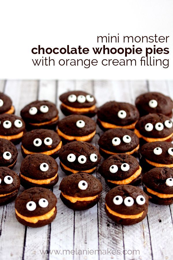 Mini Monster Chocolate Whoopie Pies with Orange Cream Filling   Melanie Makes: