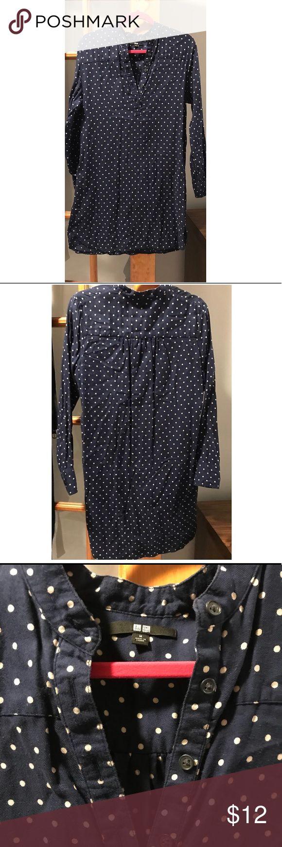 Long sleeve dress Navy blue and polka dot long sleeve dress Uniqlo Dresses Midi