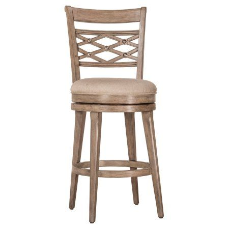 Chesney Swivel Counter Stool, Weathered Gray Finish, Red