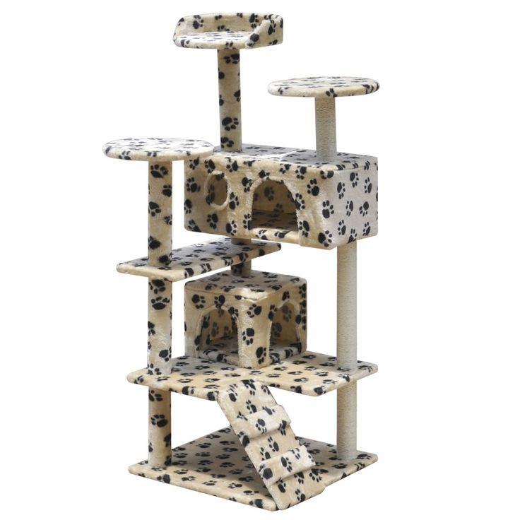 Albero tiragraffi per gatti 130 cm con 2 casette beige con impronte