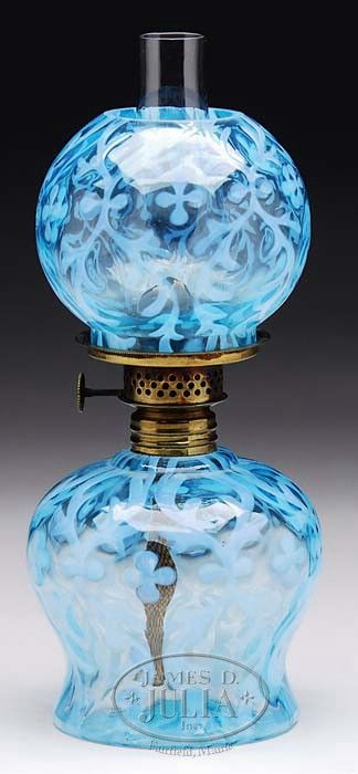 Lot 749. BLUE SPANISH LACE MINIATURE LAMP. (68229)  jamesdjulia.com