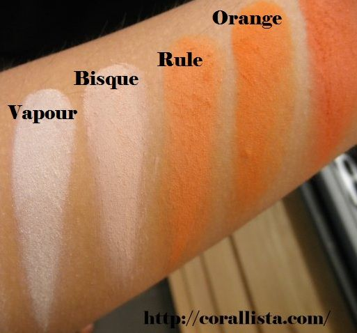 mac eye shadow swatches vapour bisque rule orange