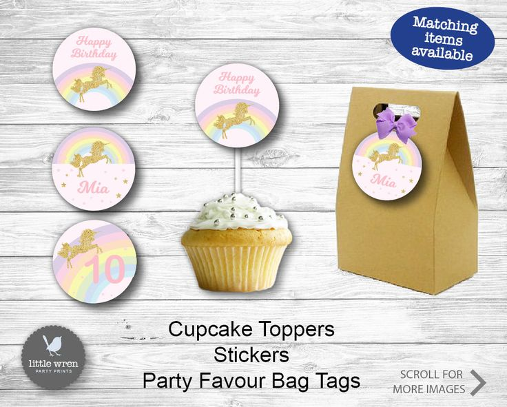 Unicorn decorations cupcake toppers stickers party favor favour goodie bag tags party pastel rainbow birthday party