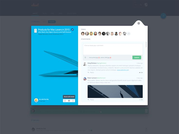 Comments Popup Modal | User Interface Design