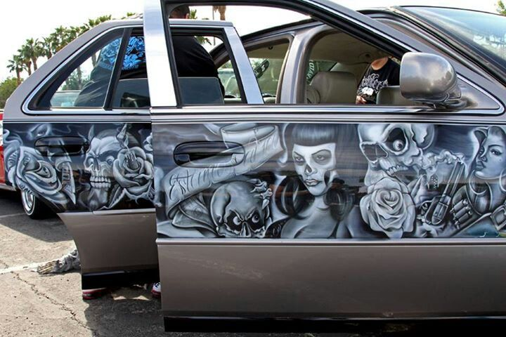 15 best images about lowrider car murals on pinterest for Airbrush car mural