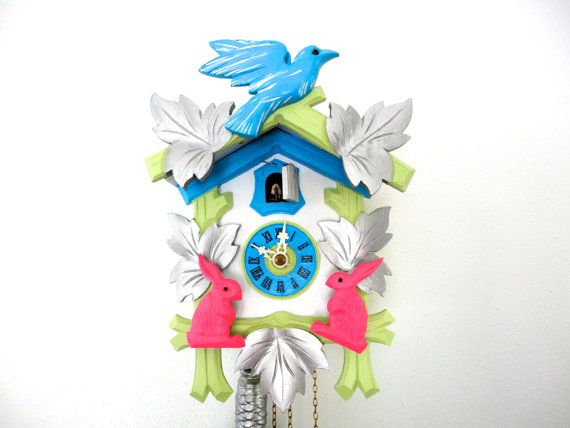 Cuckoo Clock or Modern Clock in Neon Pink, Silver, Turquoise and Green in Working Condition on Etsy, $185.00
