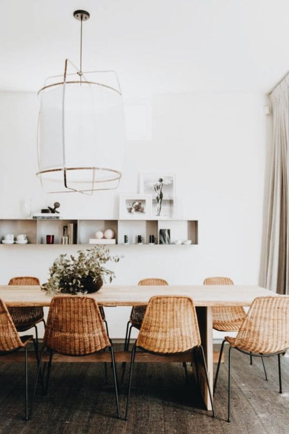 Oversized statement pendant light in the dining room