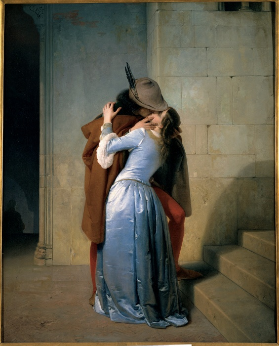 Italy, Lombardy, Milan, Brera Art Gallery. All. Man feathered hat tights red mantle; cloak brown hood kiss woman light blue; azure dress; garment light stairs; steps shadows embrace; hug. MONDADORI PORTFOLIO/Electa/Sergio Anelli