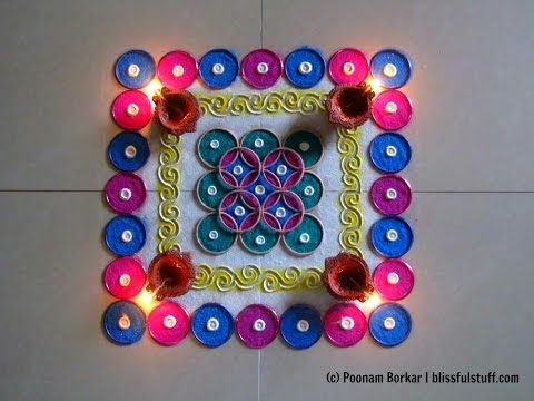 Easy and quick bangles rangoli   Easy rangoli designs with colors by Poonam Borkar - YouTube