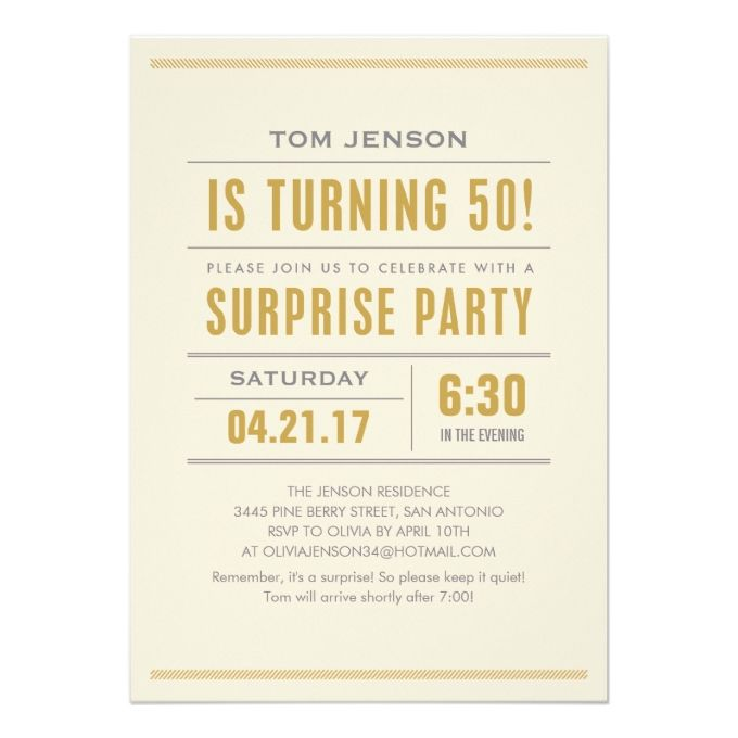 1307 best 50th birthday invitations images on pinterest memories big type 50th birthday surprise party invitations pronofoot35fo Image collections