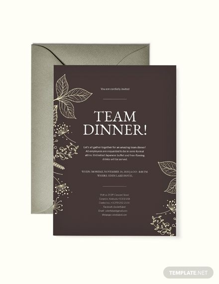 Team Dinner Invitation Invitation Templates Designs 2019
