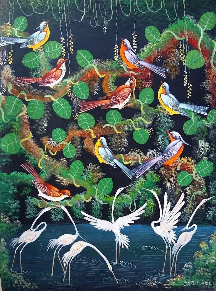 Haitian Folk art painting famous artist Aland Estime Birds Forest  Haiti Birds #Naif