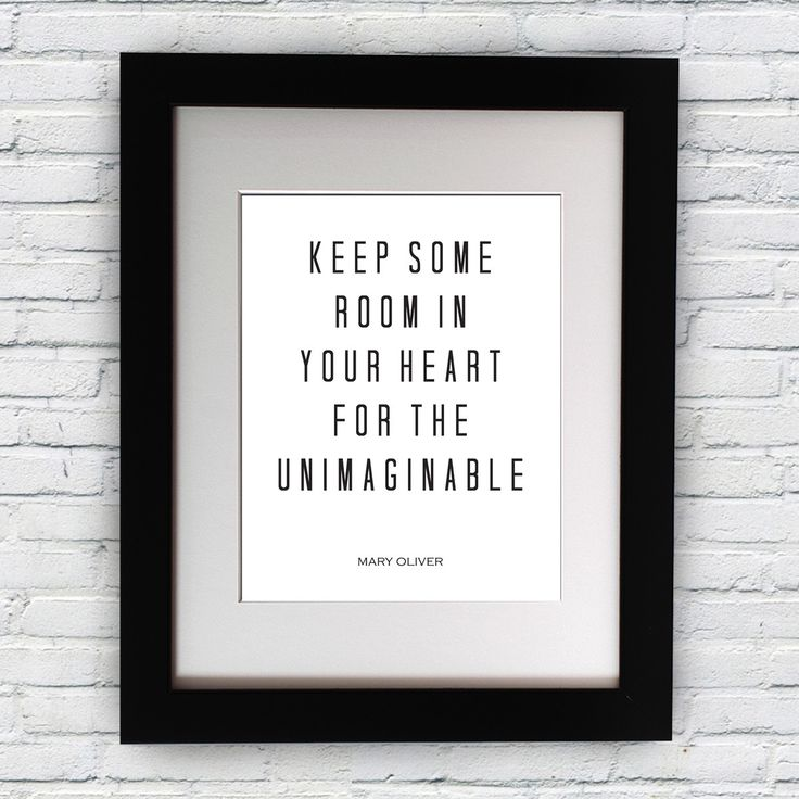 """Mary Oliver Inspirational Typography Quote B+w Print """"Keep Some Room"""" Wall Décor Illustration"""