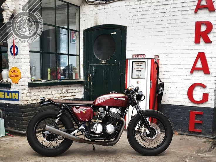 Maroon Honda CB 750 Brat