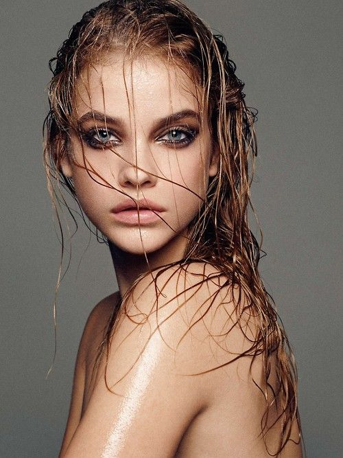 if your friend can do more than one makeup look, the dark eyes with wet hair and if you have a blank wall would look amazing