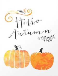 Printable Hello Autumn Watercolor Pumpkin 8x10 Home Apartment Decor…