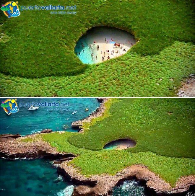 浸食と爆撃によって生まれた美しい海岸「ヒドゥン・ビーチ」(メキシコ)