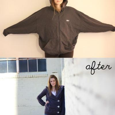 Hooded Sweatshirt Upcycle {Clothing Repurpose}