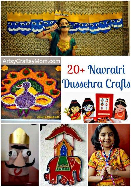 Navratri Dussehra Crafts & Activities for kids #Dasara #India #Rama #Rangoli #navratri