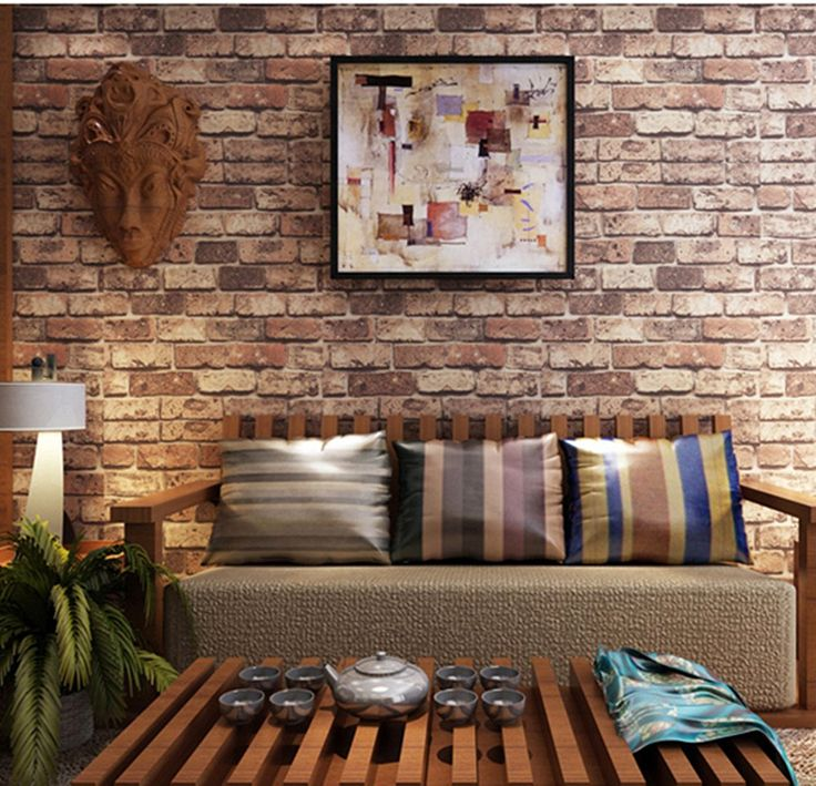 Blooming Wall: Cultural Faux Rustic Tuscan Brick Wall Wallpaper 3d for Walls Wall Paper Roll, 20.8 In*32.8 Ft=57 Sq.ft,red
